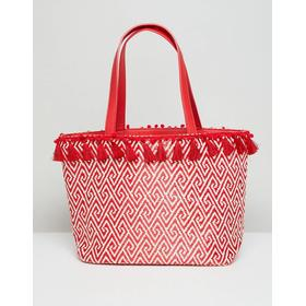 Miss Selfridge Tassel Rim Tote Bag