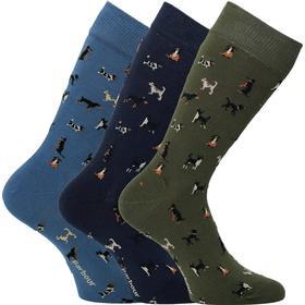 Barbour Blue, Olive & Navy Dog Motif Socks (3 Pack)