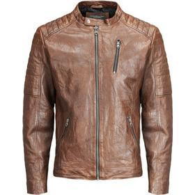 Jack & Jones Biker Leather Jacket Brown/Brown Stone (12117172)