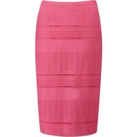 Pure Collection Textured Pencil Skirt Candy Pink