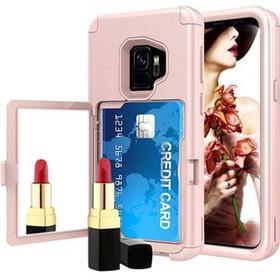 Samsung Galaxy S9 Hybrid Cover med Spejl og Kort Slot - Pink