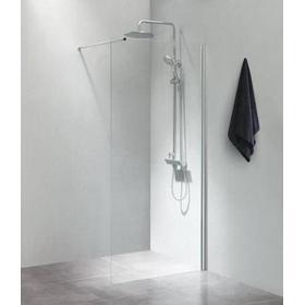 Cassøe SLIM Brusevæg 70 cm m/Forhængsstang 100 cm, Klart Glas/Blank profil