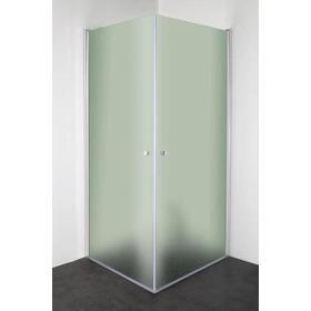 Cassøe SLIM firkantet brusehjørne 88,5 x 88,5 cm med blank profil og frostet glas