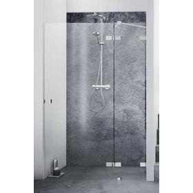 Dansani AIR 3402 højrehængt svingdør 89-91 cm m/Sidepanel, arm og gulvbeslag, Klart glas/Krom profil