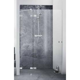 Dansani AIR 3402 venstrehængt svingdør 129-131 cm m/Sidepanel, arm og gulvbeslag, Klart glas/Krom profil