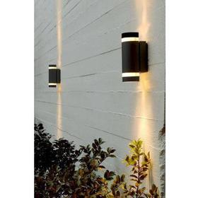 FOCUS Dobbelt Udendørs Væglampe i Sort