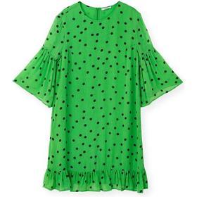 Ganni Dainty Georgette Mini Dress - Classic Green