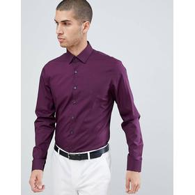 Calvin Klein - Stretchig, lila skjorta med smal passform