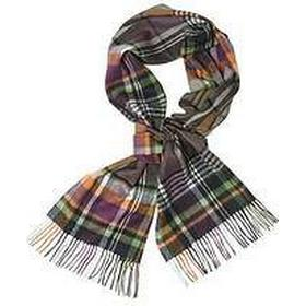Barbour Bright Country Plaid Unisex Scarf in Olive & Purple