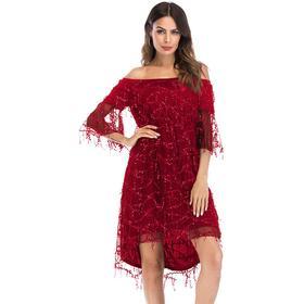 PatPat Stylish Off Shoulder Sequined Dress for Women