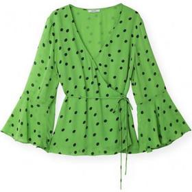 Ganni Dainty Georgette Wrap Top - Classic Green