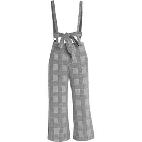 Lost Ink CHECK CROP FLARE DUNGAREE Hängselbyxor black/white