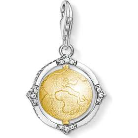 Thomas Sabo Vintage Earth Globe Silver Gold Plated Charm w. White Zirconia  (1711- a1efa4599b6bb
