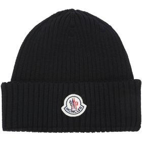 Moncler Logo Wool Rib Knit Beanie Hat Black