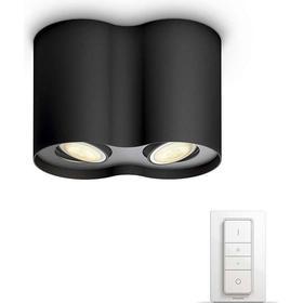 Philips Hue White Ambiance Pillar Sort Spotlys x2 + Lysdæmperkontakt