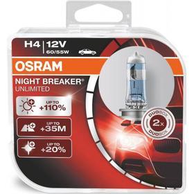 Osram Night Breaker Unlimited H4 pærer +110% mere lys (2 stk) pakke