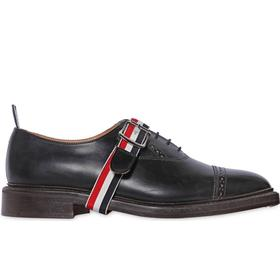BELTED BRUSHED LEATHER OXFORD SHOES