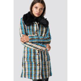 Glamorous Fluffy Collar Coat - Blue,Multicolor,Yellow