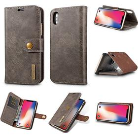 iPhone X / XS Leather Wallet Case Card Holder Magnetic Clip Closure & Detachable Hard Cover - grey