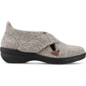 7c8fdb82f39 New Feet dame hjemmesko i uld med lille hæl og med hælkappe (lys grå)