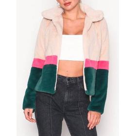 Glamorous Faux Fur Jacket Cream/Green