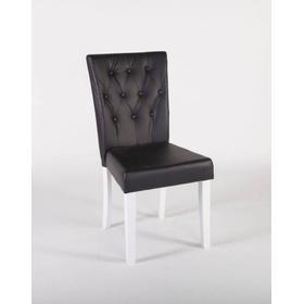 Halmstad stol 2-pack vitlack / svart konstläder