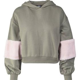 Urban Classics Ballon Sleeve Teddy Hoody - Olive/Rose
