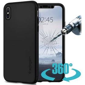 Spigen Thin Fit 360 iPhone X / iPhone XS Cover - Sort