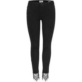 Only Carmen Reg Lace Ankle Skinny Fit Jeans - Black/Black