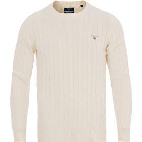 Gant Cotton Cable Crew Sweater - Cream