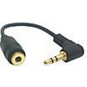 0,1 M 0.3FT 90 Grad Right Angle 3polige 3,5 mm Audio Stereo Stecker auf Buchse Verlängerungskabel Schwarz Kostenloser Versand