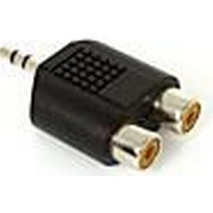0,05 M 0.15FT 3,5 mm Stereo-Stecker-Stecker auf 2 Cinch-AV-Klinkenkupplung weiblich Audio-Verlängerungsadapter vernickelt Kostenloser Versand