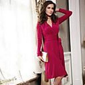 Abigail V-Ausschnitt Langarm fuchsia Mode anliegendes Kleid