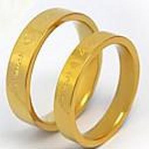 """""""Forever love"""" Edelstahl Paar Bandringe Goldfarbe"""