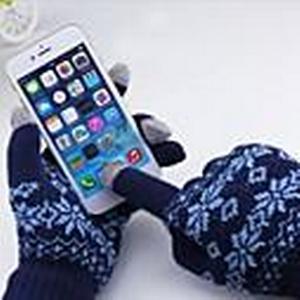 : Schneemuster Baumwolle 5-Finger-kapazitiven Bildschirm berühren Winterhandschuhe für iPhone / iPad und andere