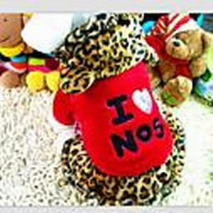 """""""I Love NO5"""" Printing Leopard Pattern Hoody Suit for Pet Dogs Assorted Colors Assorted Sizes"""