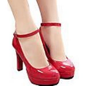 amingna Frauen süße Bonbonfarben Schnalle wasserdichte Schuhe mit hohen Absätzen