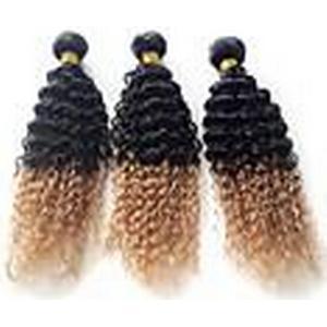100% brasilianische vigin Haar zwei Klangfarbe ombre Erweiterungen unverarbeitete menschliches Haar lockiges Haar webt