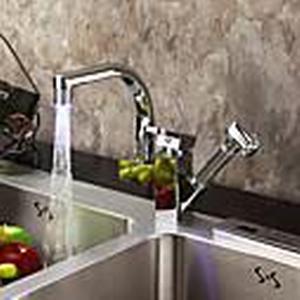 zeitgenössische Farbwechsel LED herausziehen Küchenarmatur Chrom-Finish