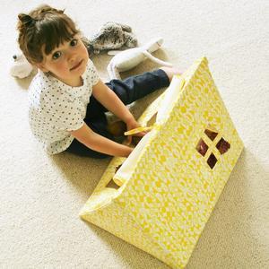 Deuz Mini-Spielzelt aus Bio-Baumwolle (50x40x40 cm), inkl. Stofftasche in gelb