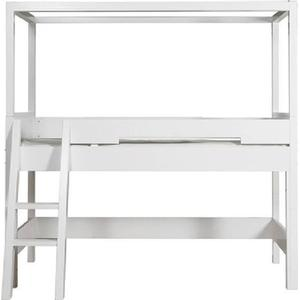 BOPITA Combiflex Halbhohes Himmelbett Weiß mit schräger Leiter und Rollrost 58114611
