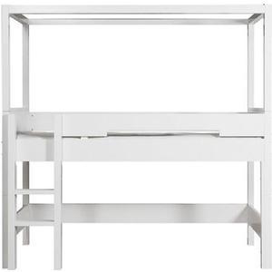 BOPITA Combiflex Halbhohes Himmelbett Weiß mit gerader Leiter und Rollrost 58014611