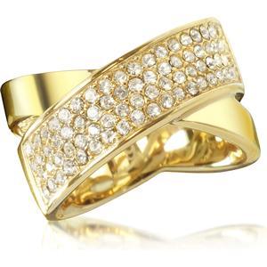 Damenring aus vergoldetem Brass mit Kristallen