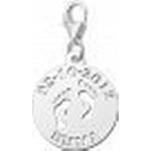 Babyfuesse Charm-Anhaenger inklusive Gravur fuer Namen und Datum aus Silber