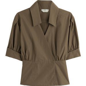 Fendi Drapierte Schößchen-Bluse mit Puffärmeln