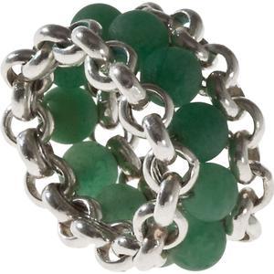 25 Pieces Ring aus Sterlingsilber mit Aventurin-Kugeln