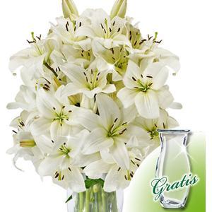 10 weie Lilien mit Vase