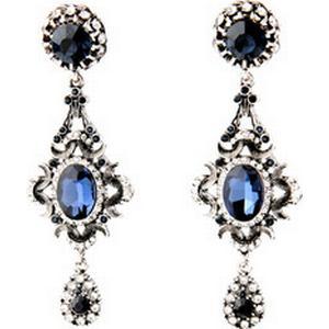 1 Piercing Ohrringe Ohrhänger Strass mit Achtkantschliff in Blau