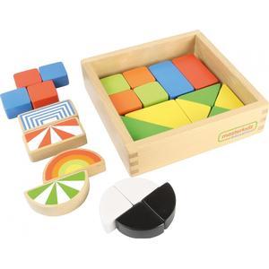 24 bunte Holzbausteinein Holzbox / Material: Buchenholz / Maße: 20 x 20 x 5 cm / für Kinder ab 3 Jah