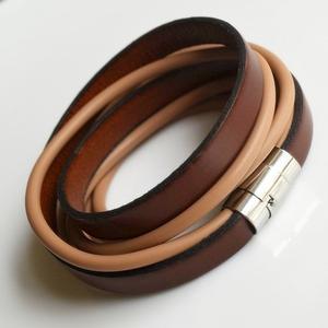 -sefora- Armband Stahl braunes Leder